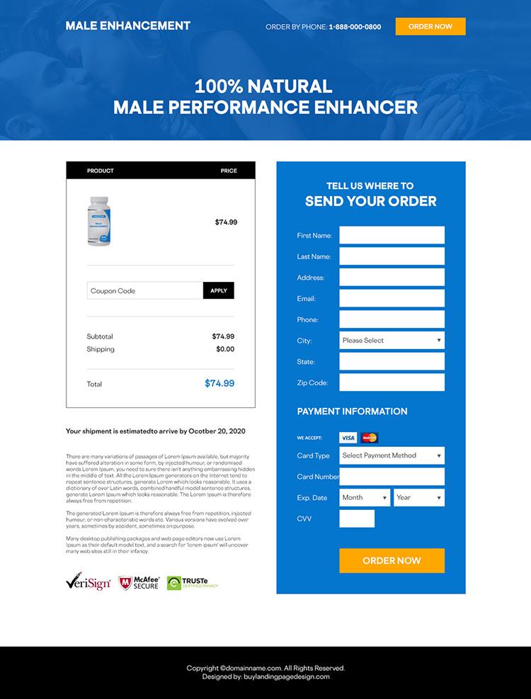 natural male performance enhancer supplement responsive landing page