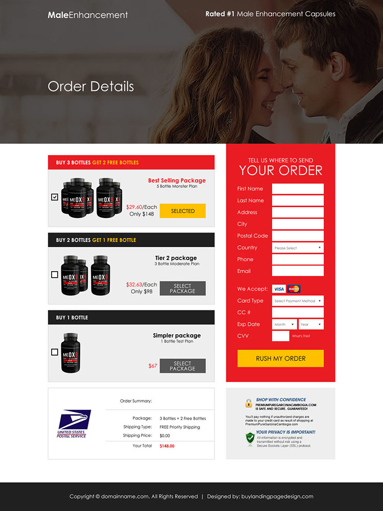 male enhancement product sales boosting responsive landing page