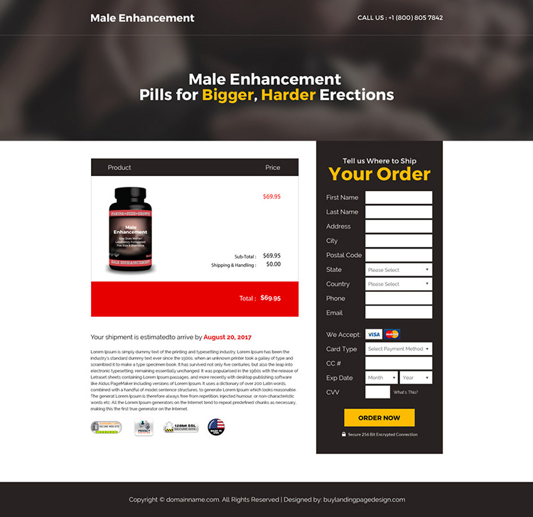 male enhancement supplement selling bootstrap landing page