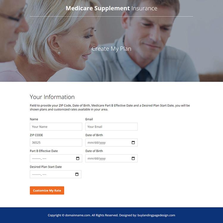 medicare supplement insurance responsive landing page design