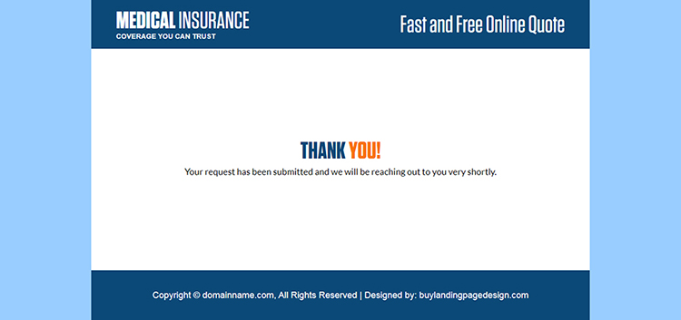 minimal health insurance quote capturing responsive landing page