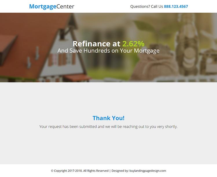 mortgage center responsive lead gen landing page design