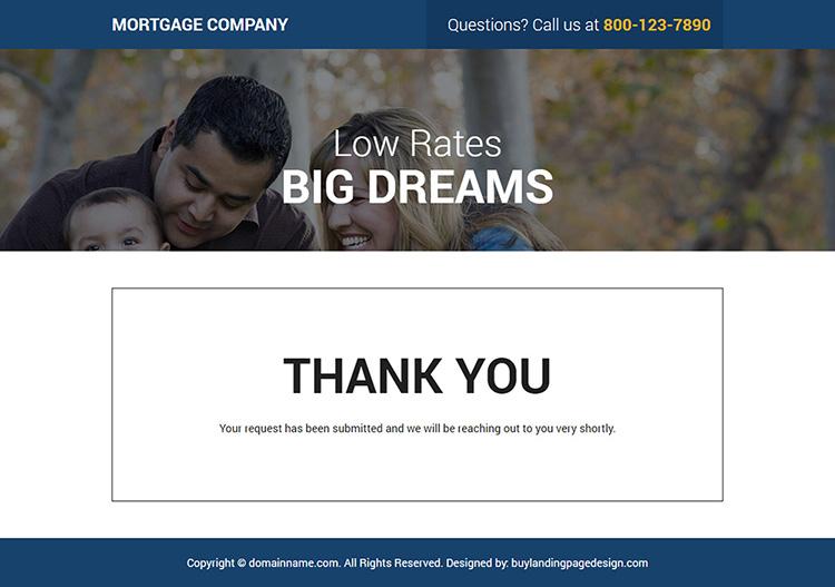 mortgage company lead capture responsive landing page design