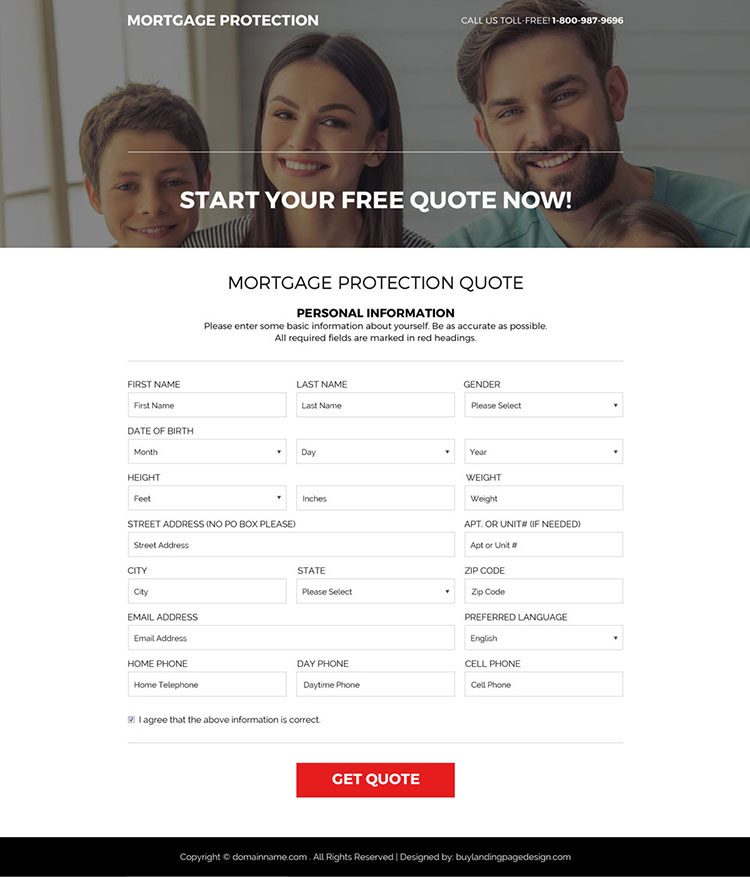 mortgage protection program responsive landing page