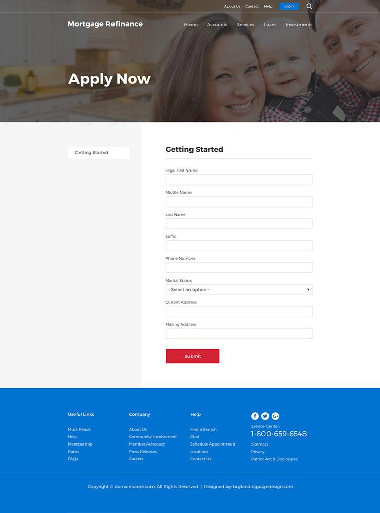 mortgage refinance loans responsive website design