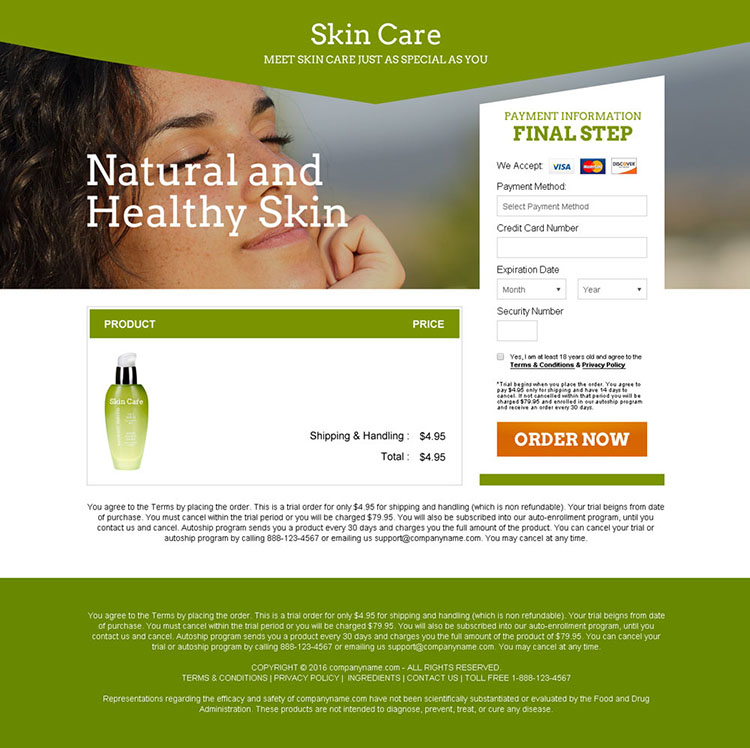 skin care product selling bank page design