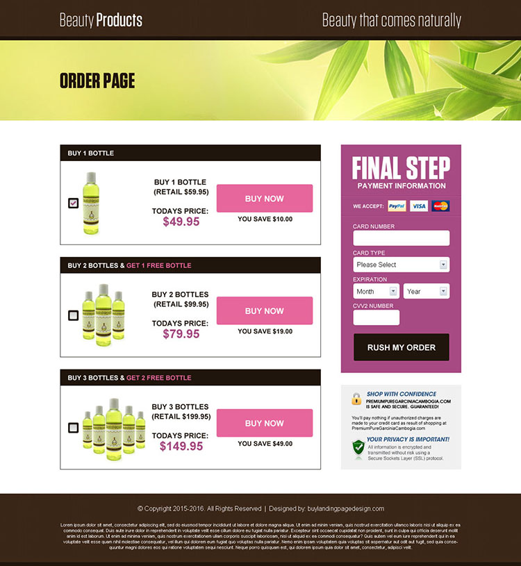 natural beauty product selling lead generating landing page