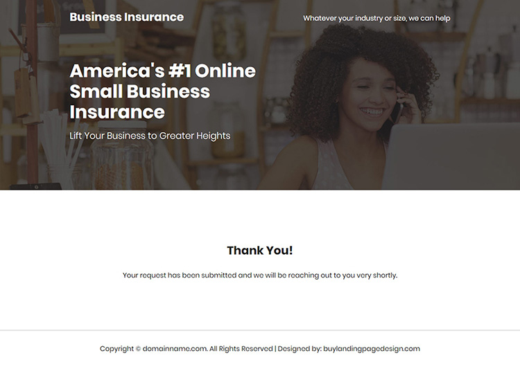small business insurance responsive landing page