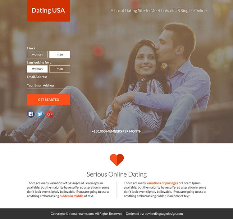 online dating sign up capturing funnel page design