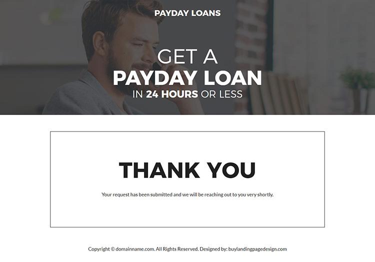 online payday cash loan minimal landing page