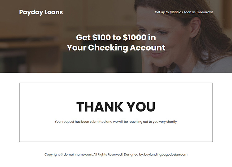 online payday loan responsive landing page design