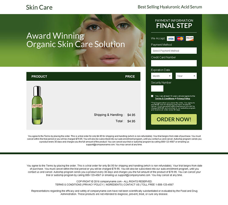 anti ageing skin care solution bank page design