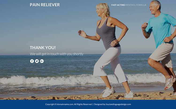 responsive pain relief product selling funnel page