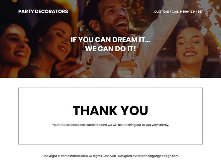 party decorators lead capture responsive landing page