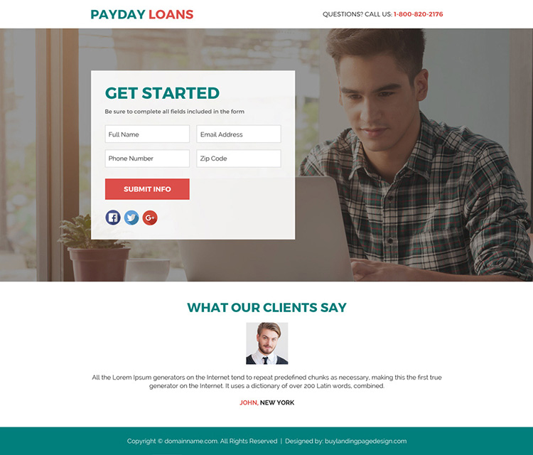 payday loan responsive lead funnel landing page design