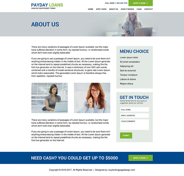 payday loan responsive website design template