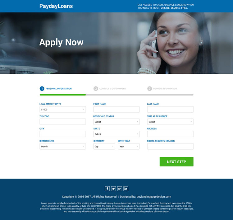 modern lead generating payday loan landing page design