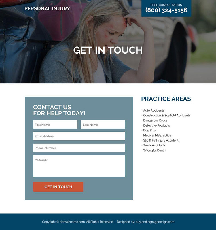 personal injury medical help responsive landing page design