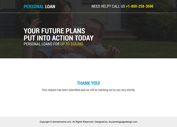 instant and easy personal loan service landing page
