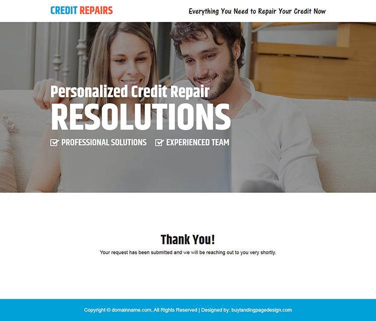 personalized credit repair responsive landing page design