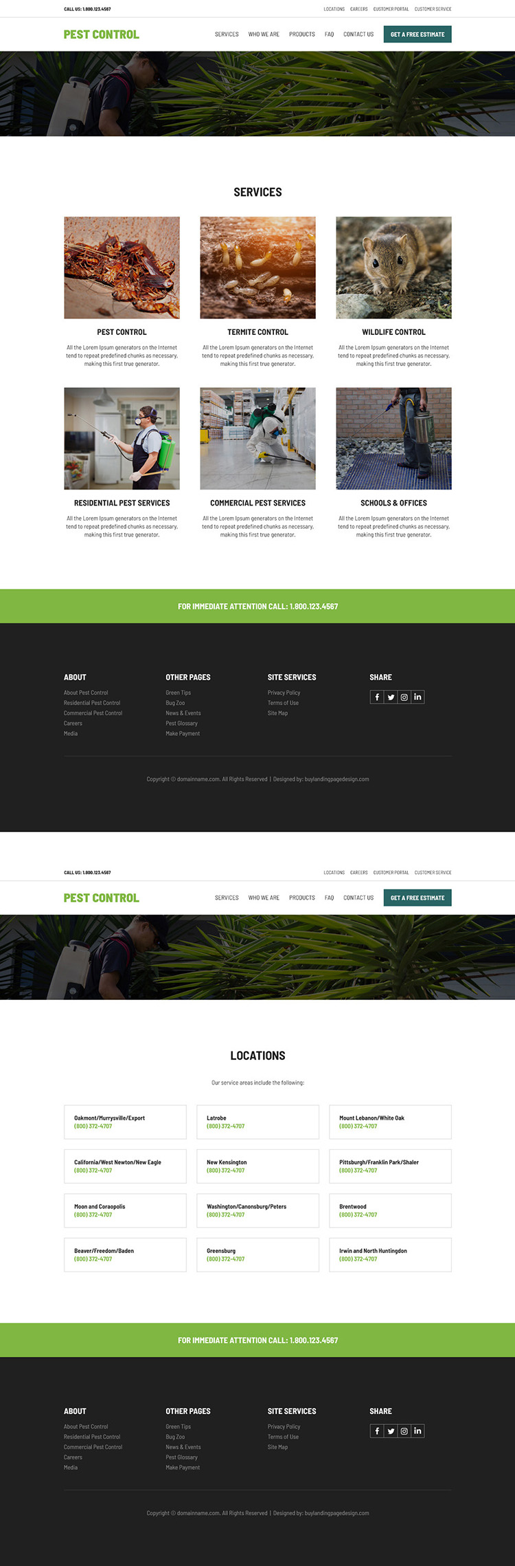 pest control product and services responsive website design