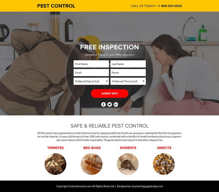 pest control service lead funnel landing page design