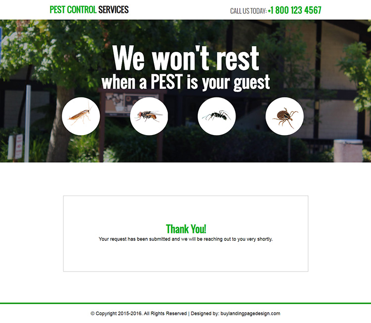 pest control services responsive landing page design template