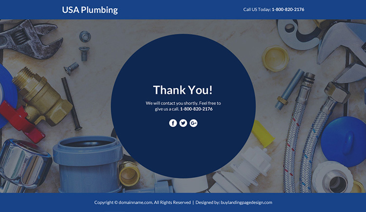 plumbing services lead funnel landing page design