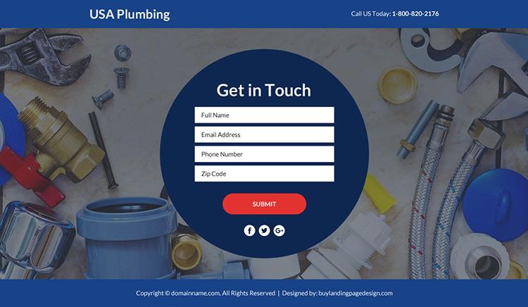 plumbing service funnel responsive landing page