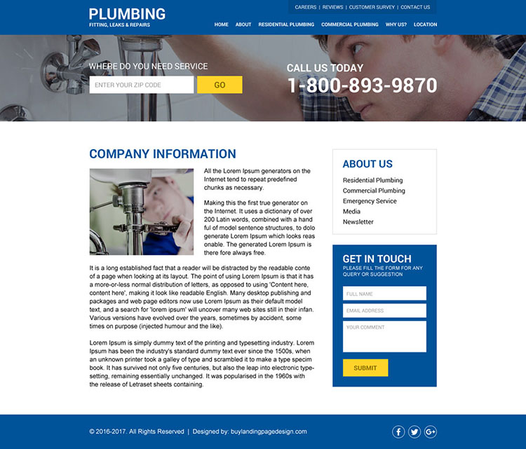 modern and clean plumbing service html website design