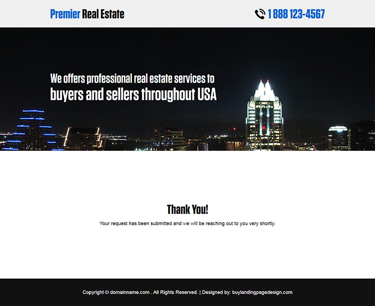 premier real estate responsive landing page design