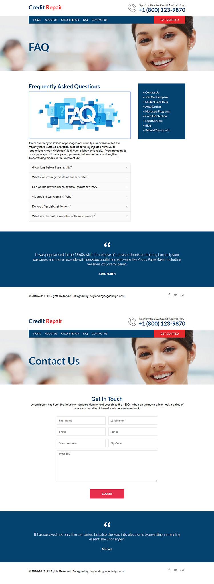 professional credit repair responsive website design