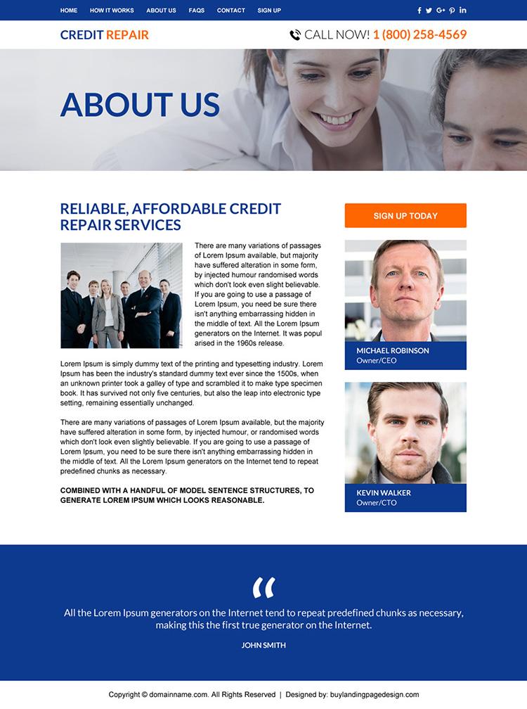 professional credit repair sign up capturing responsive website design