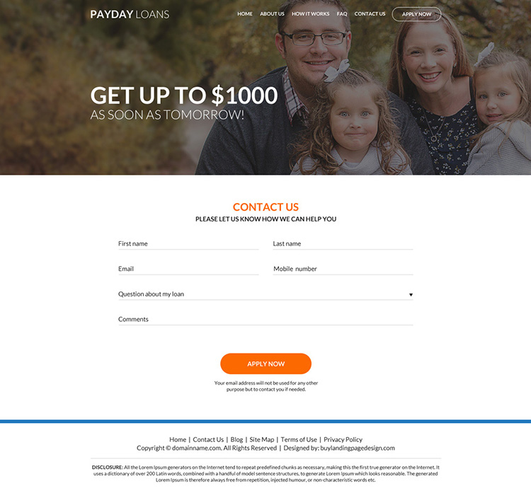 professional payday loan online application website design