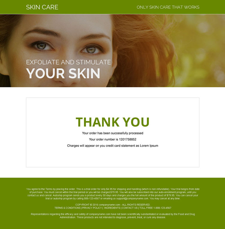 professional skin care product bank page design