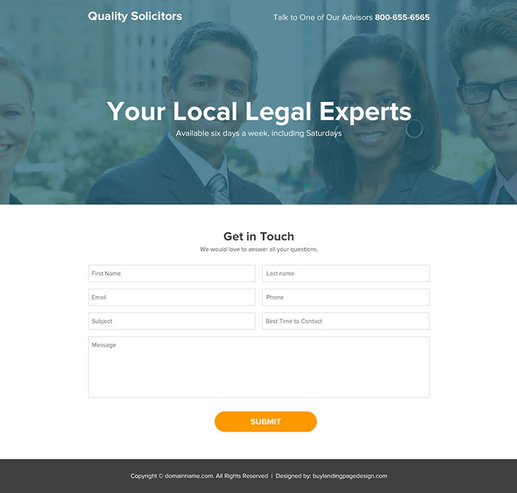 local solicitors lead generating responsive landing page design