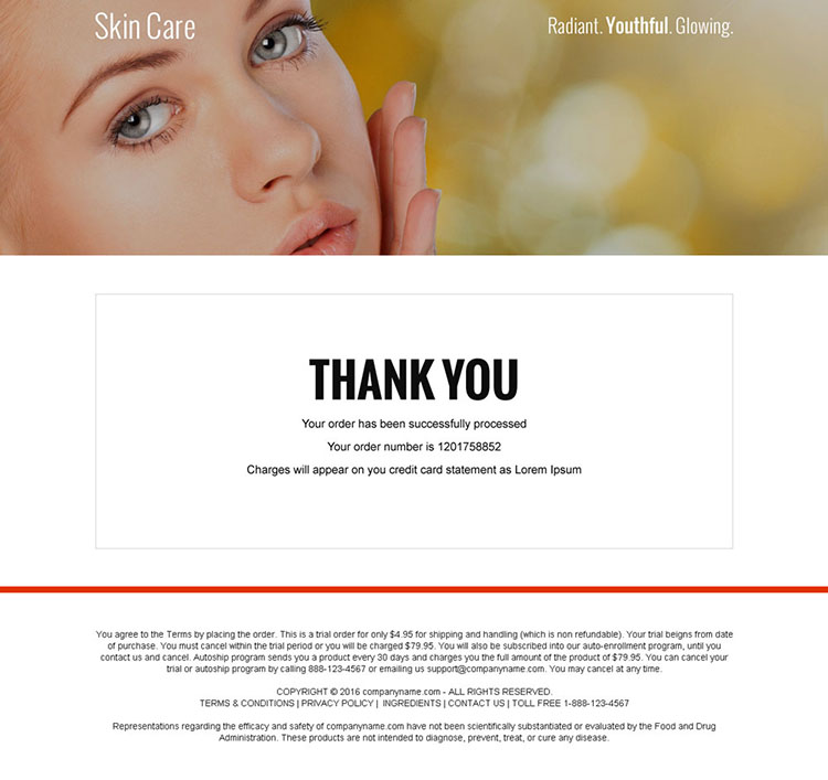skin care serum selling bank page design