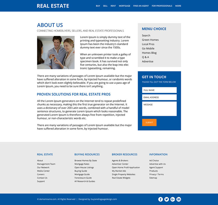 clean real estate property listing website design