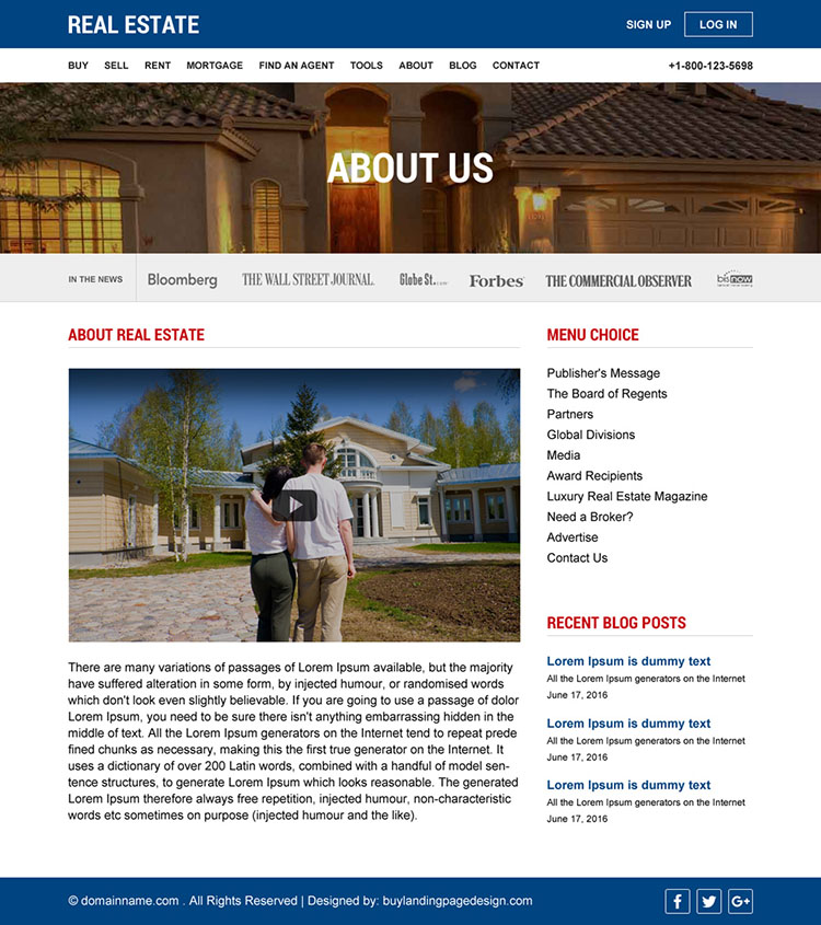 real estate properties listing responsive website design