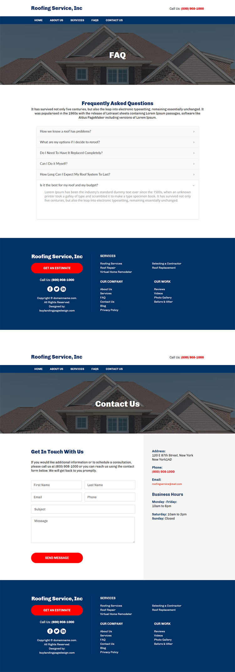 residential and commercial roofing company responsive website design