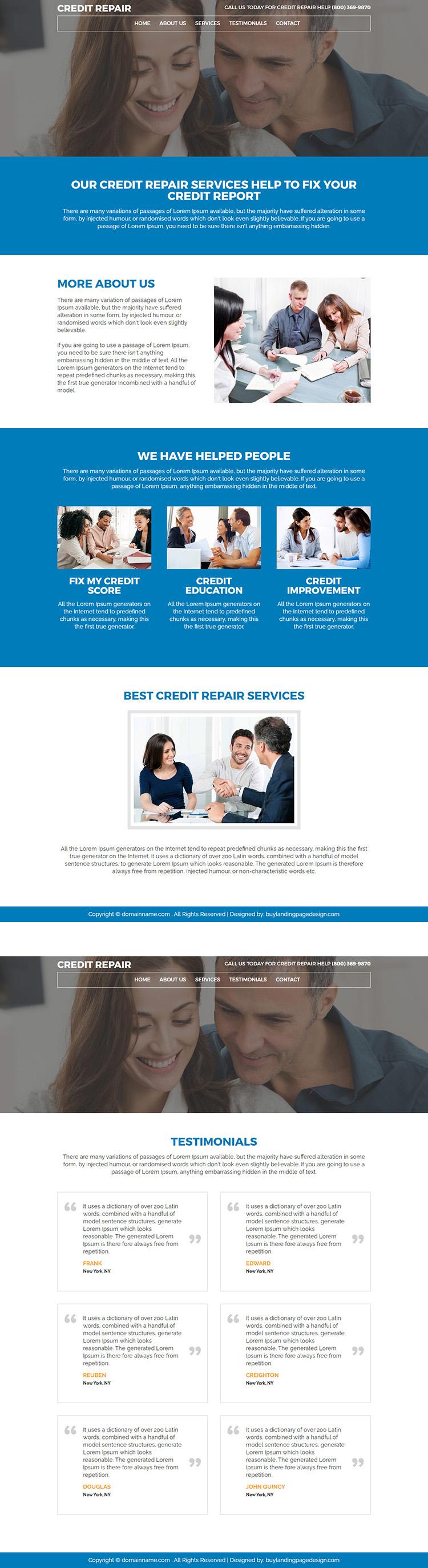 responsive credit repair service website design