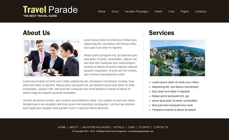 responsive travel business website design template