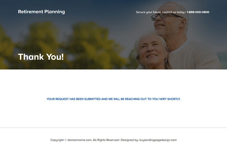 professional retirement planning lead generating landing page