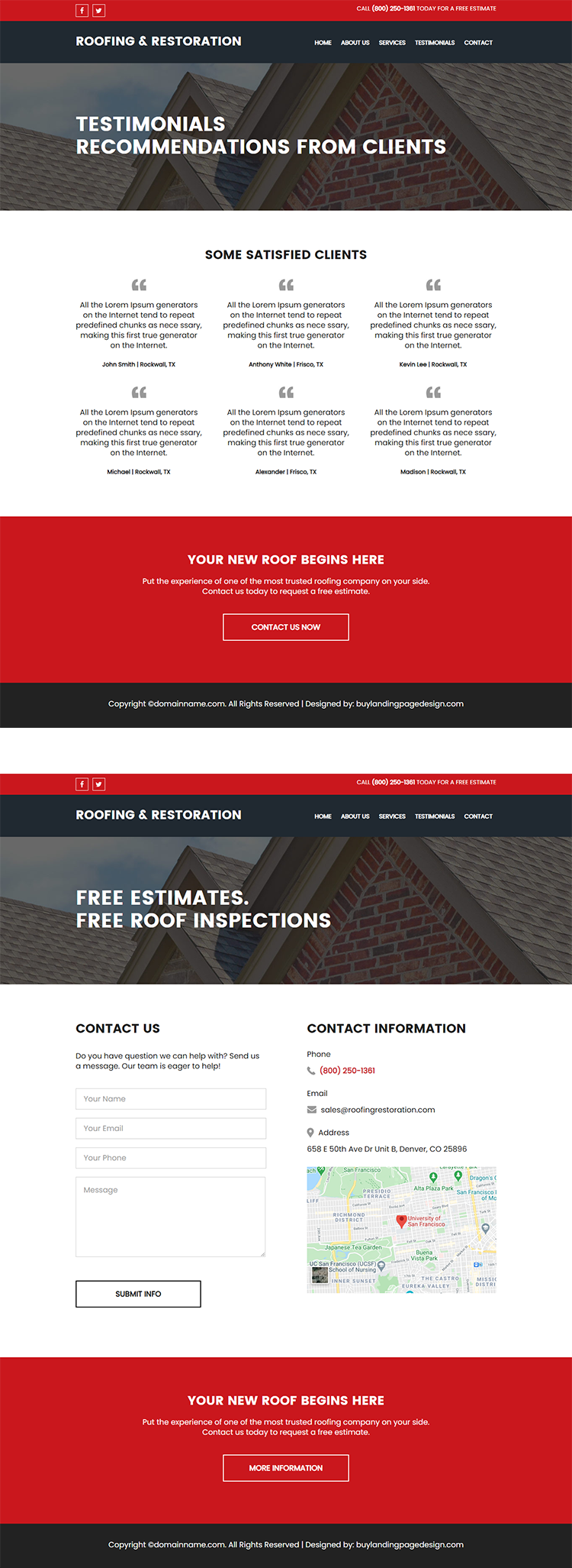 residential and commercial roofing services responsive website design