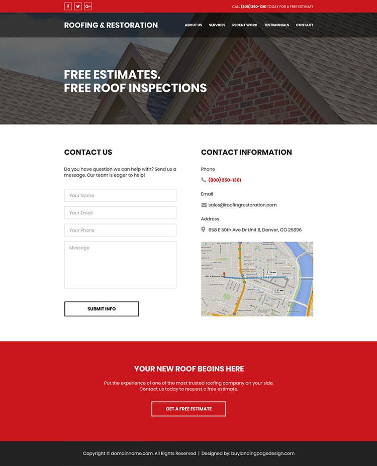 roofing and restoration free estimates website design