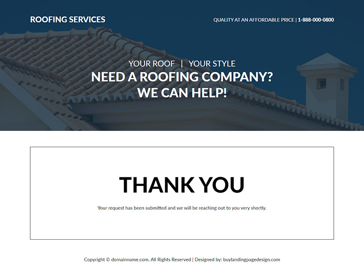 roofing company lead generating responsive landing page