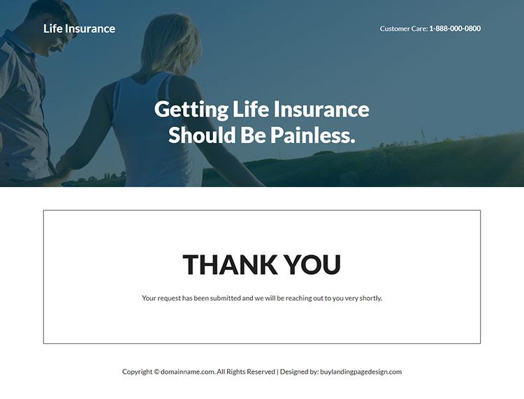 life insurance company responsive landing page design