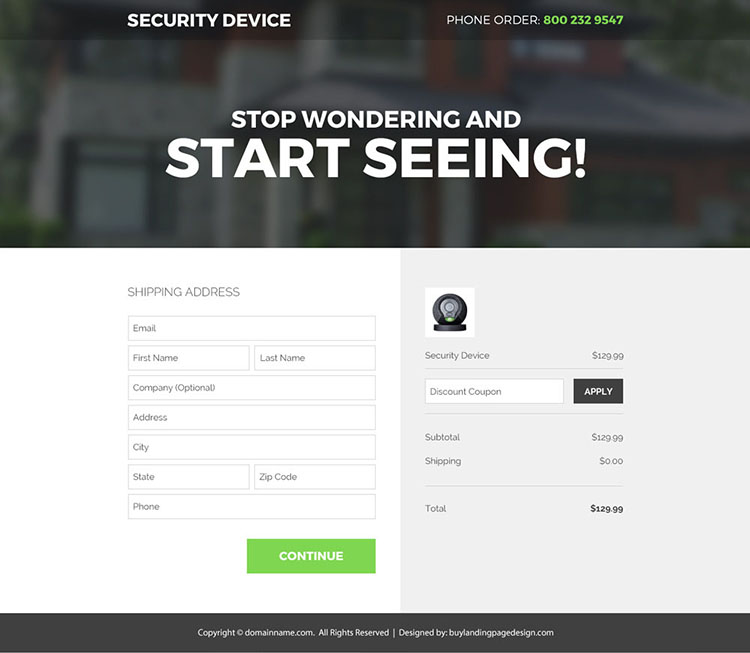 security device selling responsive landing page design