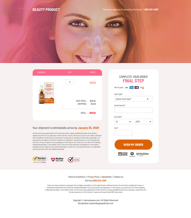 beauty product selling bootstrap landing page design
