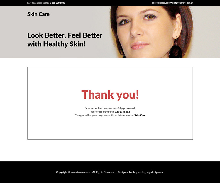 skin care product responsive landing page design